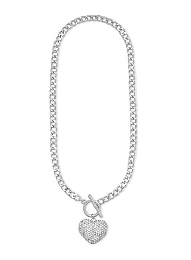 Rhinestone Heart Charm Necklace with Toggle Closure,SILVER,large
