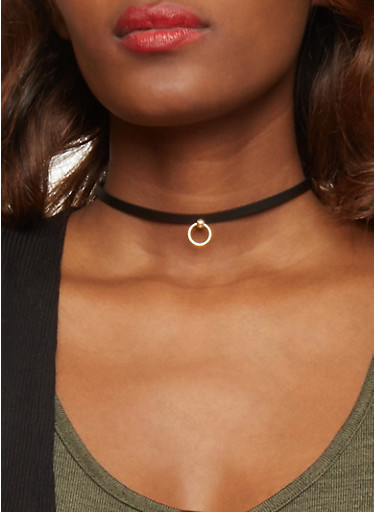 Trio of Pearl Faux Leather Charm Chokers,GOLD,large