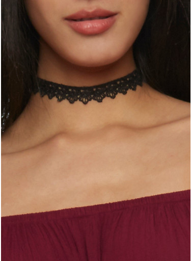Trio Lace and Charm Choker Necklace Set,BLACK,large