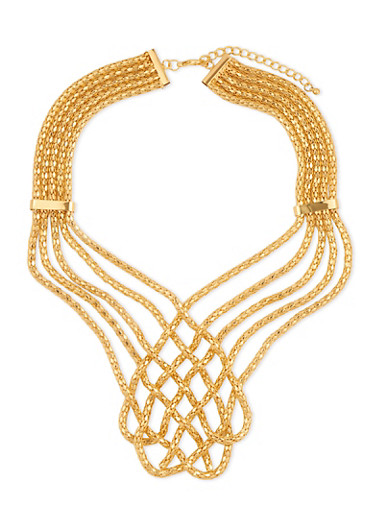 Multi Layered Mesh Woven Necklace,GOLD,large