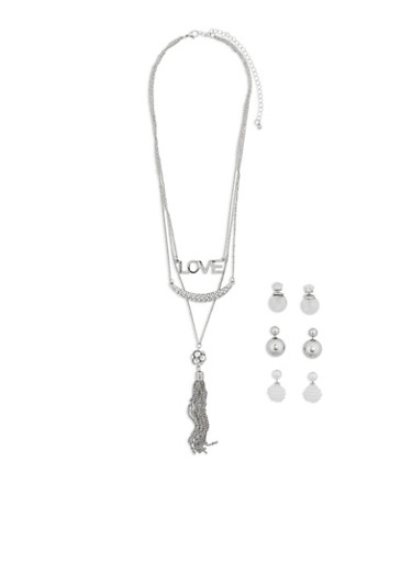 Layered Charm Necklace with 3 Reversible Earrings,SILVER,large