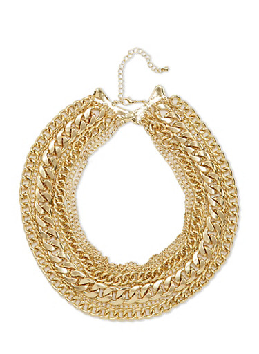Large Multi Layered Chain Link Choker Necklace,GOLD,large