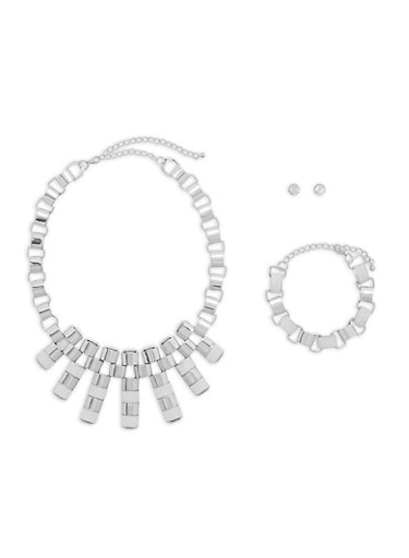 Glitter Chain Necklace with Bracelet and Stud Earrings,SILVER,large