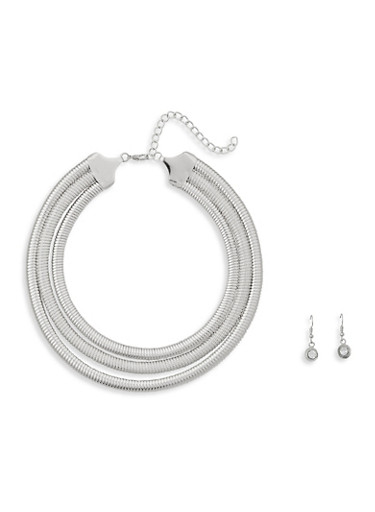 Layered Flat Collar Necklace and Earrings,SILVER,large