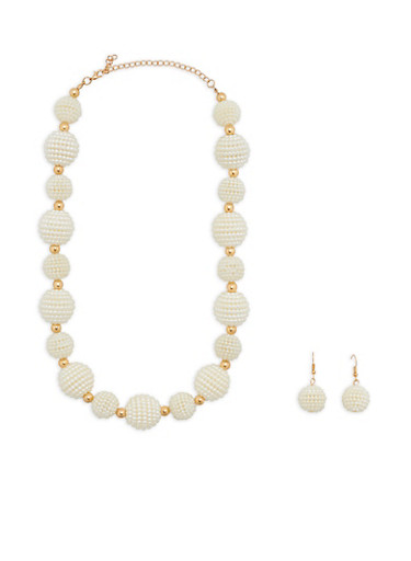 Faux Pearl Beaded Necklace and Earrings,IVORY,large