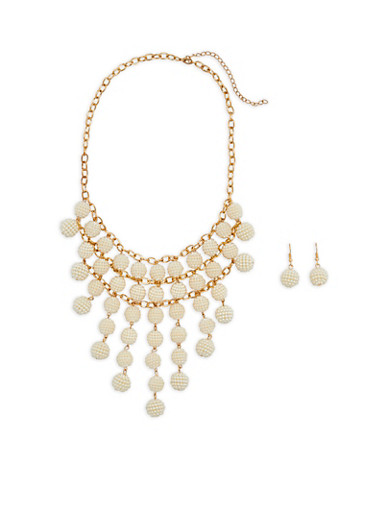 Faux Pearl Beaded Statement Necklace with Earrings,IVORY,large
