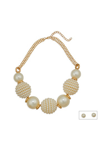 Large Faux Pearl Necklace and Stud Earrings,IVORY,large