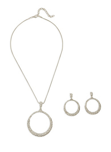 Rhinestone Circle Necklace with Matching Earrings,SILVER,large