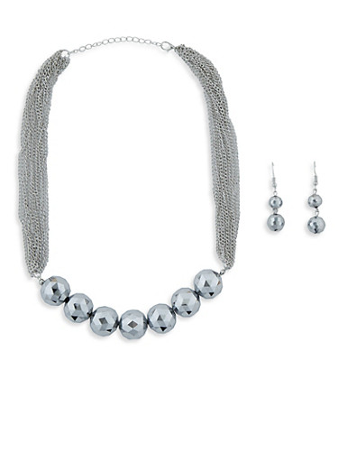 Large Beaded Multi Layer Chain Necklace with Drop Earrings,SILVER,large