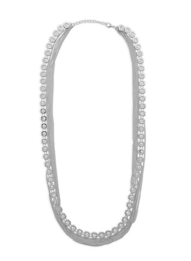 Rhinestone Chain Layered Necklace,SILVER,large