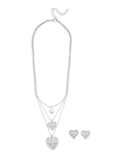 Rhinestone Heart Pendant Necklace and Stud Earrings,SILVER,large
