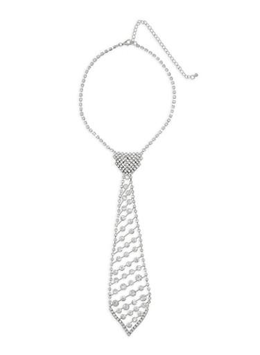 Rhinestone Tie Choker Necklace,SILVER,large
