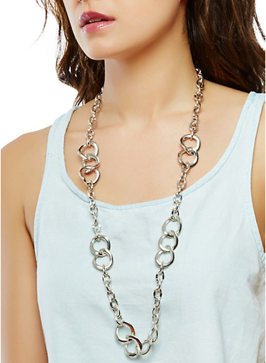 Long Chain Necklace and Earring Set,SILVER,large
