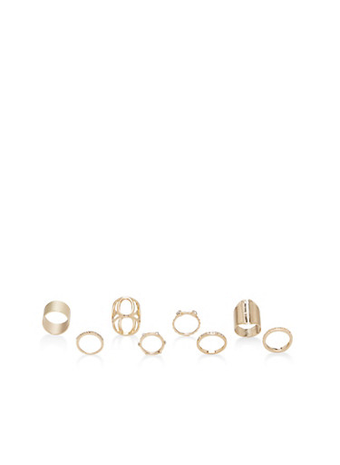 Set of 8 Assorted Metallic Rings,GOLD,large