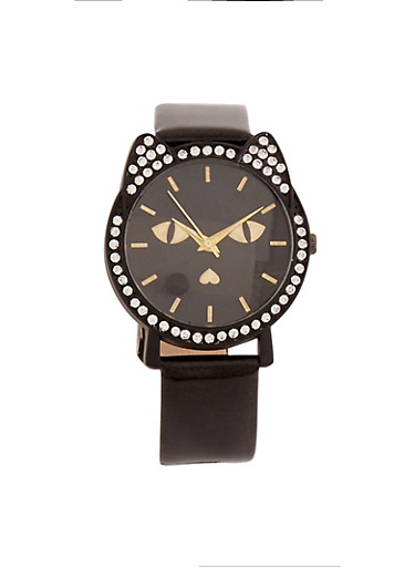 Rhinestone Cat Watch with Glitter Band,BLACK,large