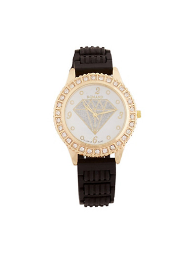 Glitter Diamond Face Watch with Rhinestone Bezel,BLACK,large