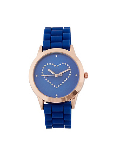 Diamond Heart Watch,NAVY,large