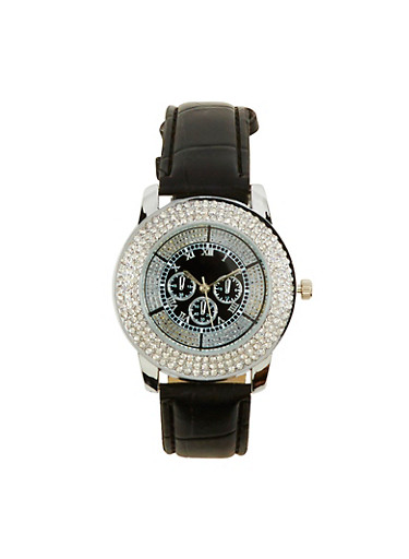 Rhinestone Watch with Faux Leather Strap,BLACK,large
