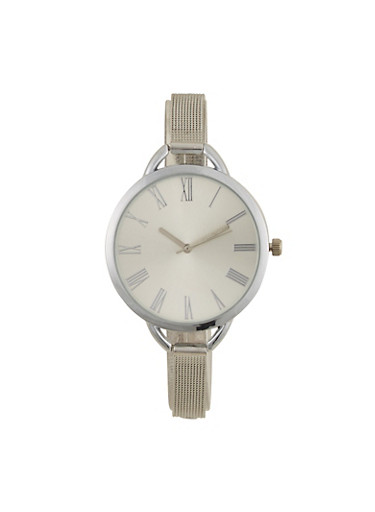 Oversized Face Skinny Metal Strap Watch,SILVER,large