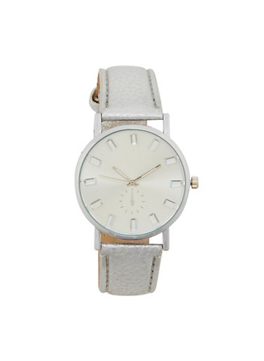 Faux Leather Strap Watch with Jewel Detail,SILVER,large