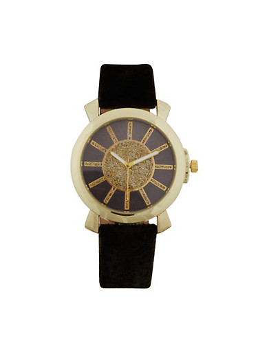 Glitter Velvet Strap Watch,BLACK,large