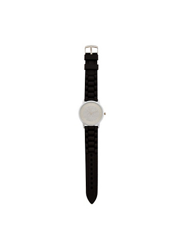 Glitter Face Woven Rubber Strap Watch,BLACK,large