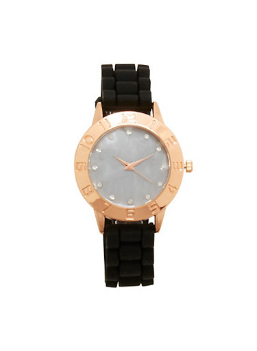 Silicone Strap Watch with Rhinestone Detail,BLACK,large