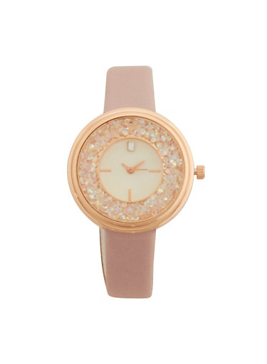 Rhinestone Face Watch with Faux Leather Strap,BLUSH,large