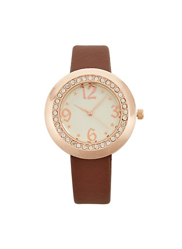 Faux Leather Strap Watch with Rhinestone Detail,BROWN,large
