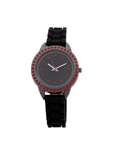 Rhinestone Studded Watch,BLACK/RED,large