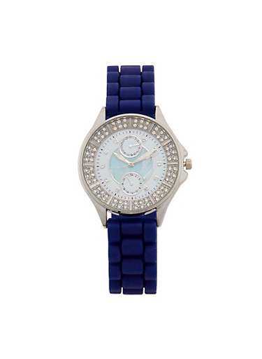 Textured Rubber Strap Watch with Rhinestone Detail,NAVY,large