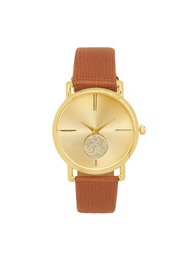 Textured Faux Leather Strap Watch,TAN,large