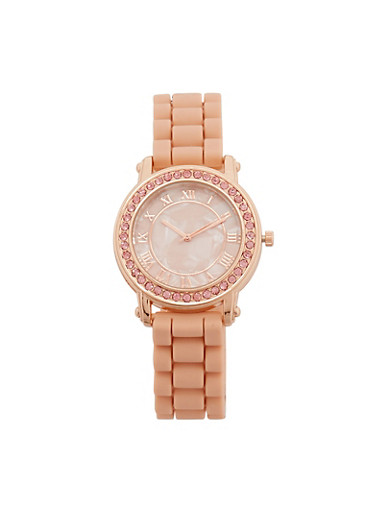 Marble Face Rubber Strap Watch with Rhinestone Detail,PINK,large