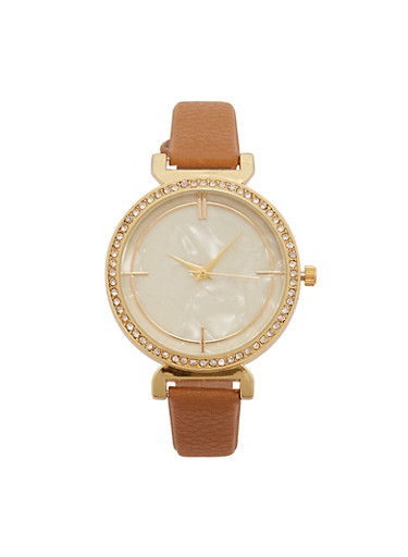 Marble Face Faux Leather Strap Watch with Rhinestone Bezel,TAN,large