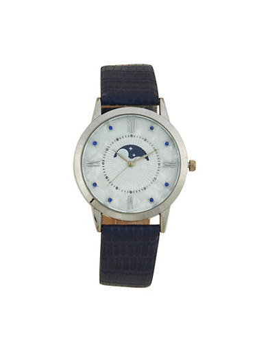 Moon and Star Face Watch with Textured Faux Leather Strap,NAVY,large