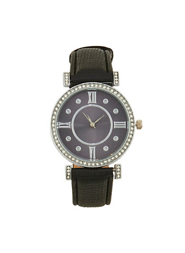 Rhinestone Detail Watch with Faux Leather Strap,BLACK,large