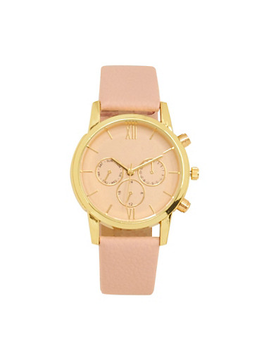 Faux Leather Chronograph Watch,BLUSH,large