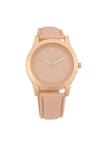 Faux Leather Strap Watch,BLUSH,large