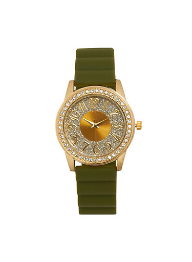 Glitter Face Rubber Strap Watch,OLIVE,large
