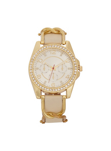 Rhinestone Bezel Watch with Metal Twist Band Detail,IVORY,large