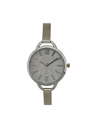 Skinny Mesh Watch with Oversized Glitter Face,SILVER,large