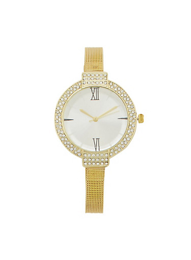 Faux Diamond Bezel Watch with Mesh Chain Strap,GOLD,large