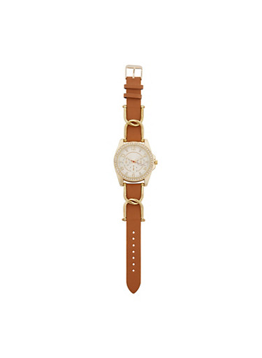 Faux Leather Strap Watch with Rhinestone Detail,TAN,large