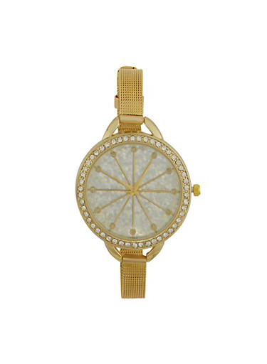 Rhinestone Bezel Watch with Thin Mesh Strap and Sparkling Face,GOLD,large