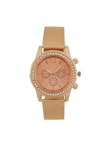 Metallic Face Watch with Rhinestones and Mesh Strap,ROSE,large