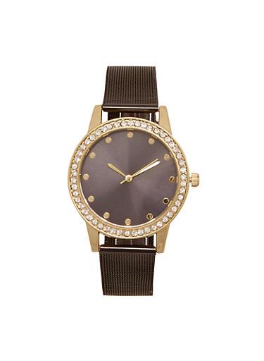 Mesh Watch with Rhinestone Bezel,BLACK,large