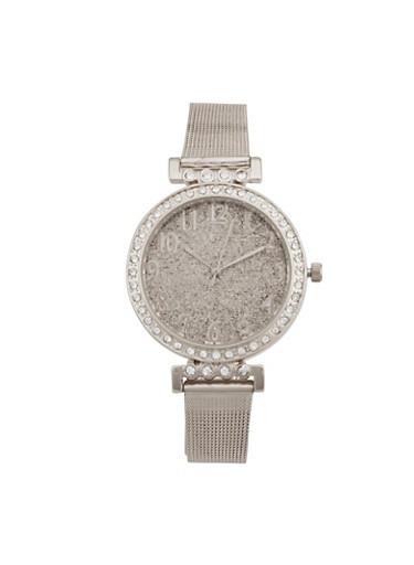 Glitter Face Metallic Mesh Watch,SILVER,large