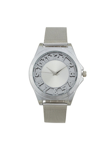Rhinestone Number Metallic Mesh Watch,SILVER,large