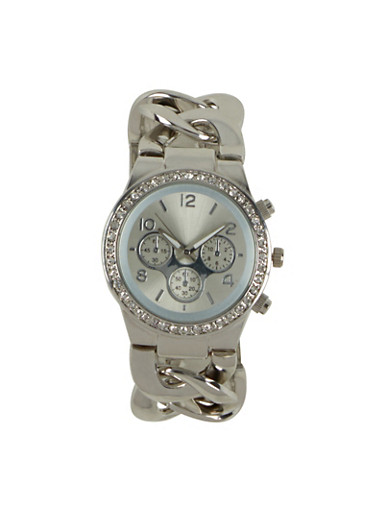 Watch with Rhinestone Bezel and Curb Chain Band,SILVER,large