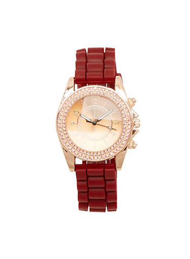 Rubber Strap Watch with Rhinestone Bezel,WINE,large